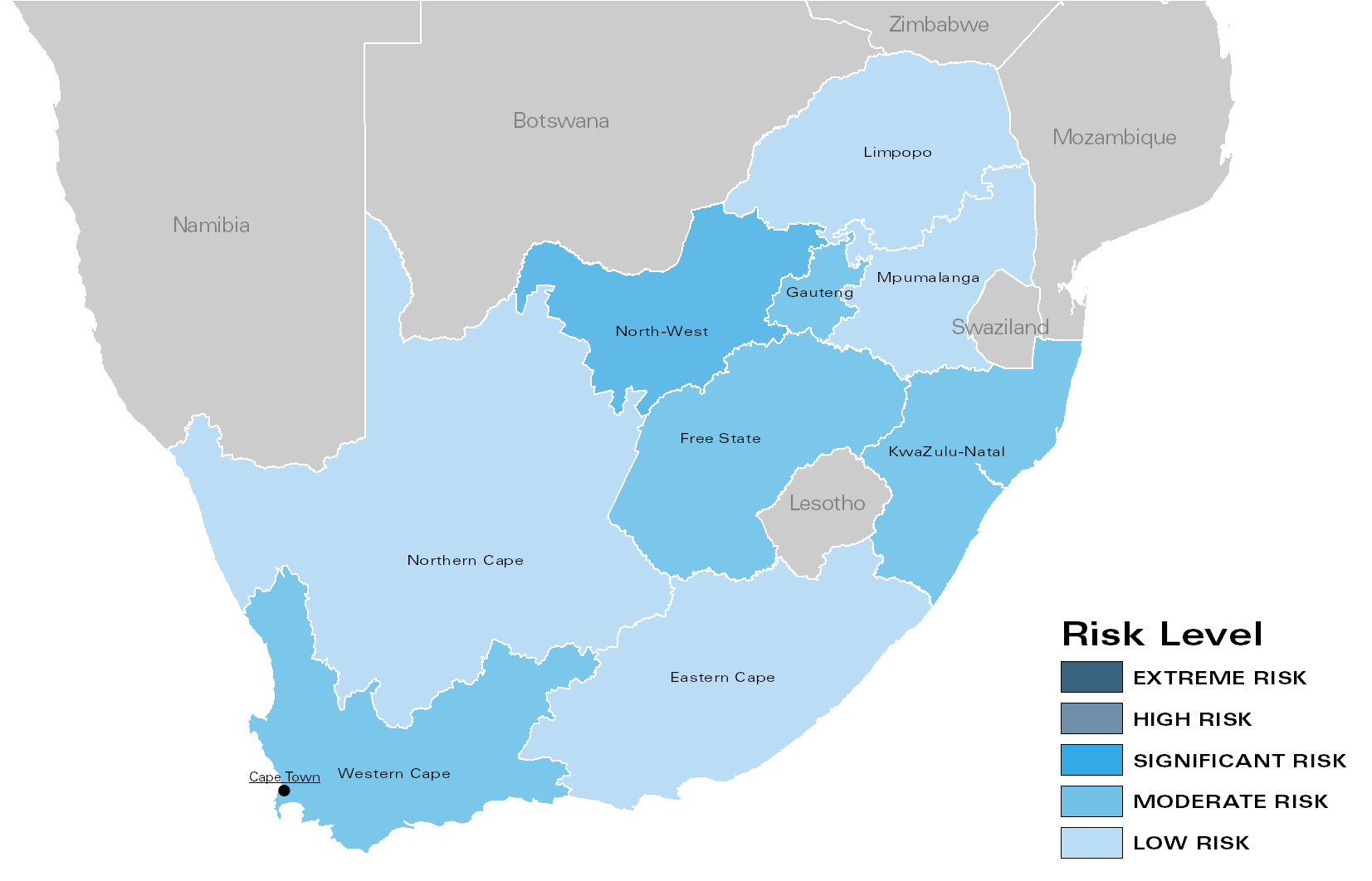 Fig. 2: Regional Risk Levels for South Africa in February 2018 (all conflicts)