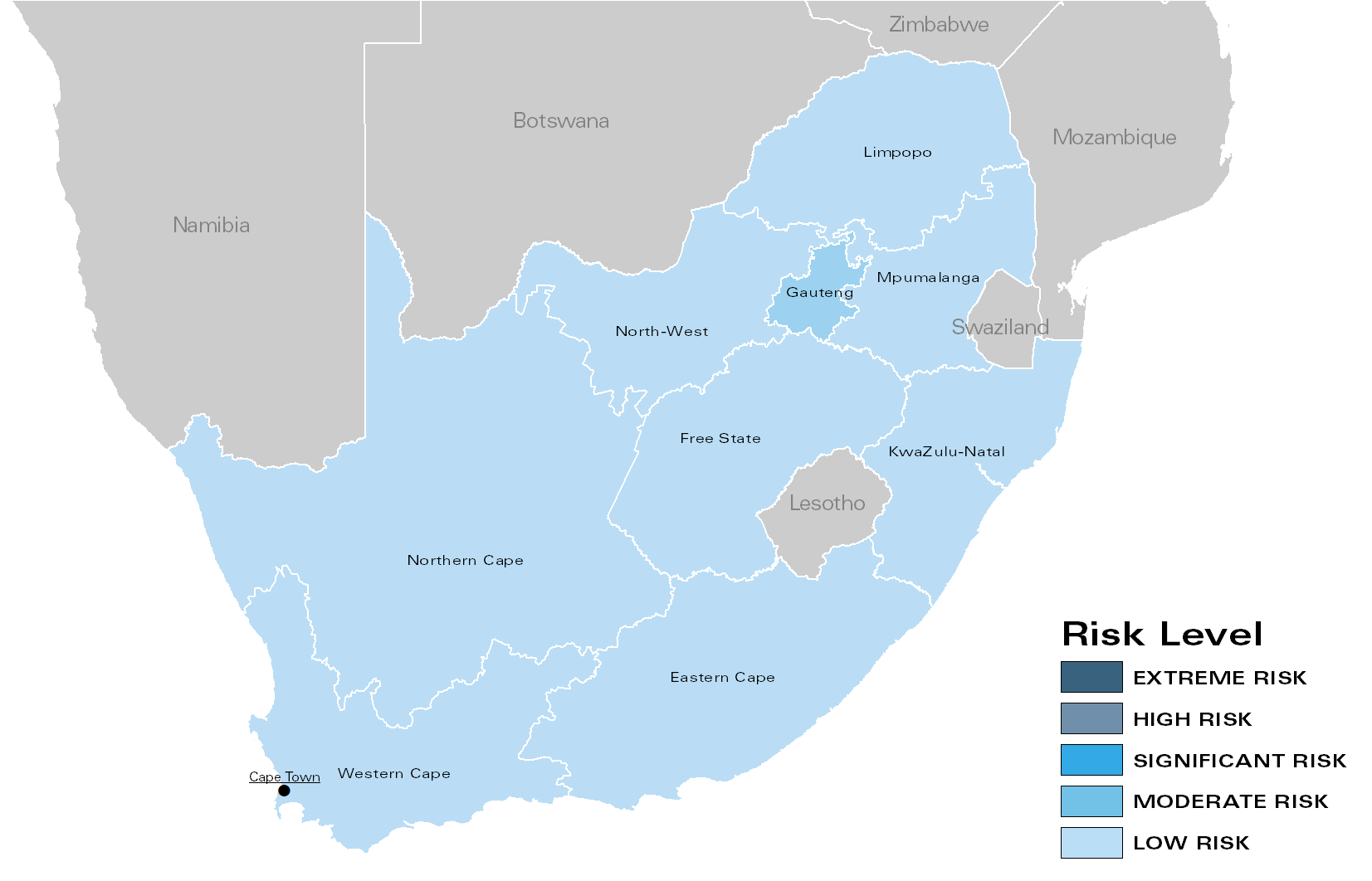 Fig. 1: Regional Risk Levels for South Africa (opposition) in February 2018