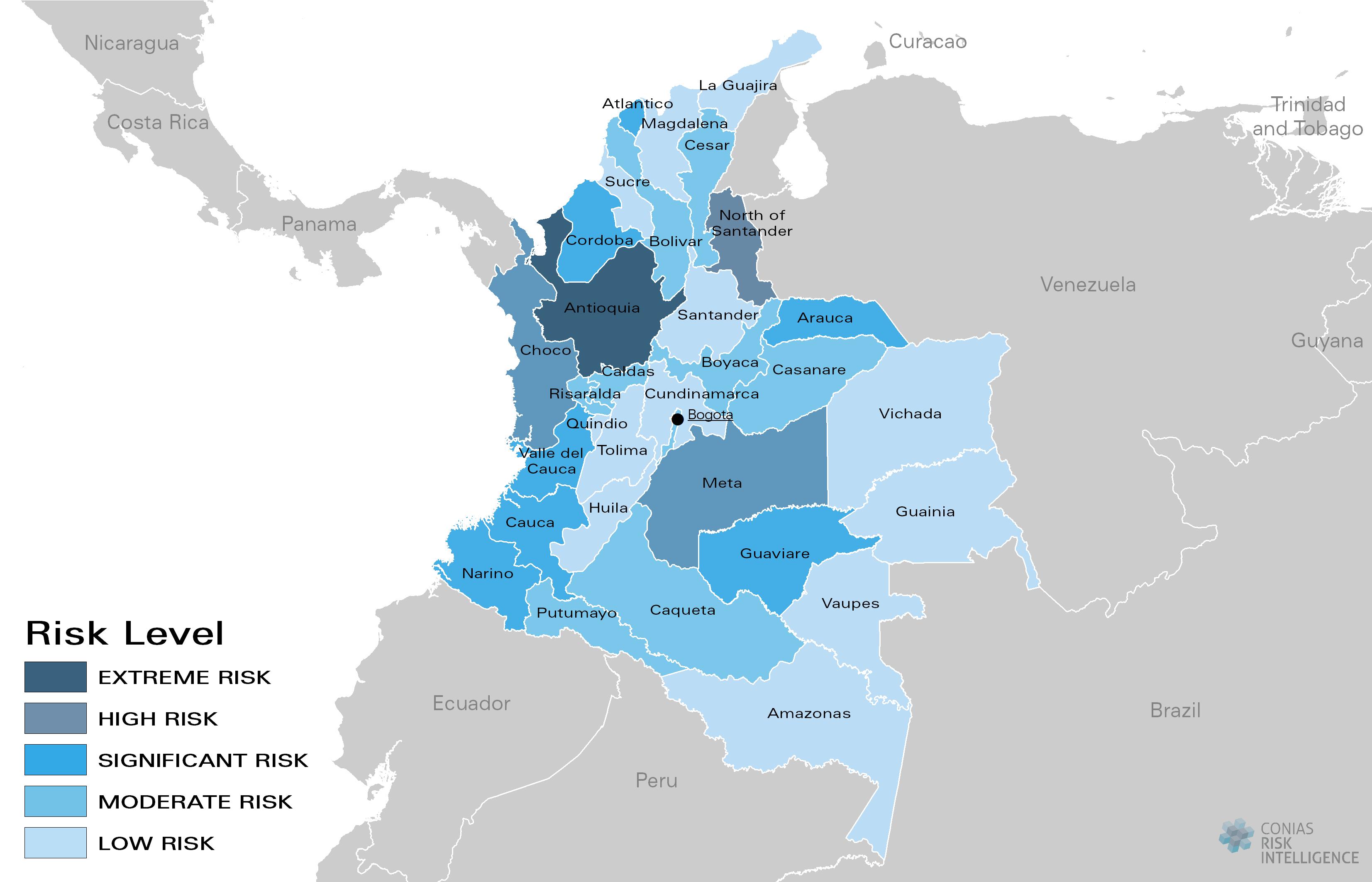 CONIAS Political Risk Maps Kolumbien