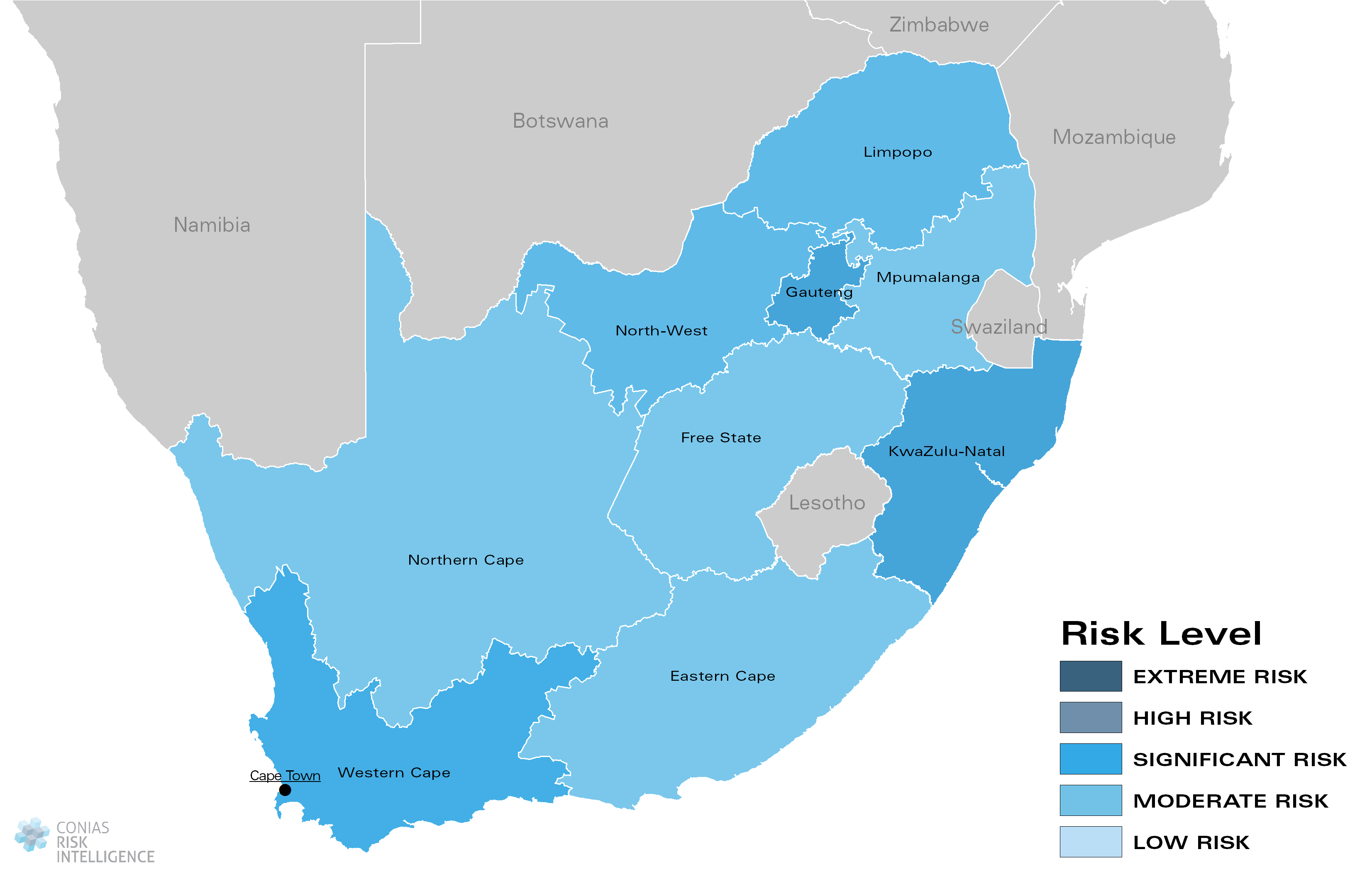 CONIAS Political Risk Map South Africa