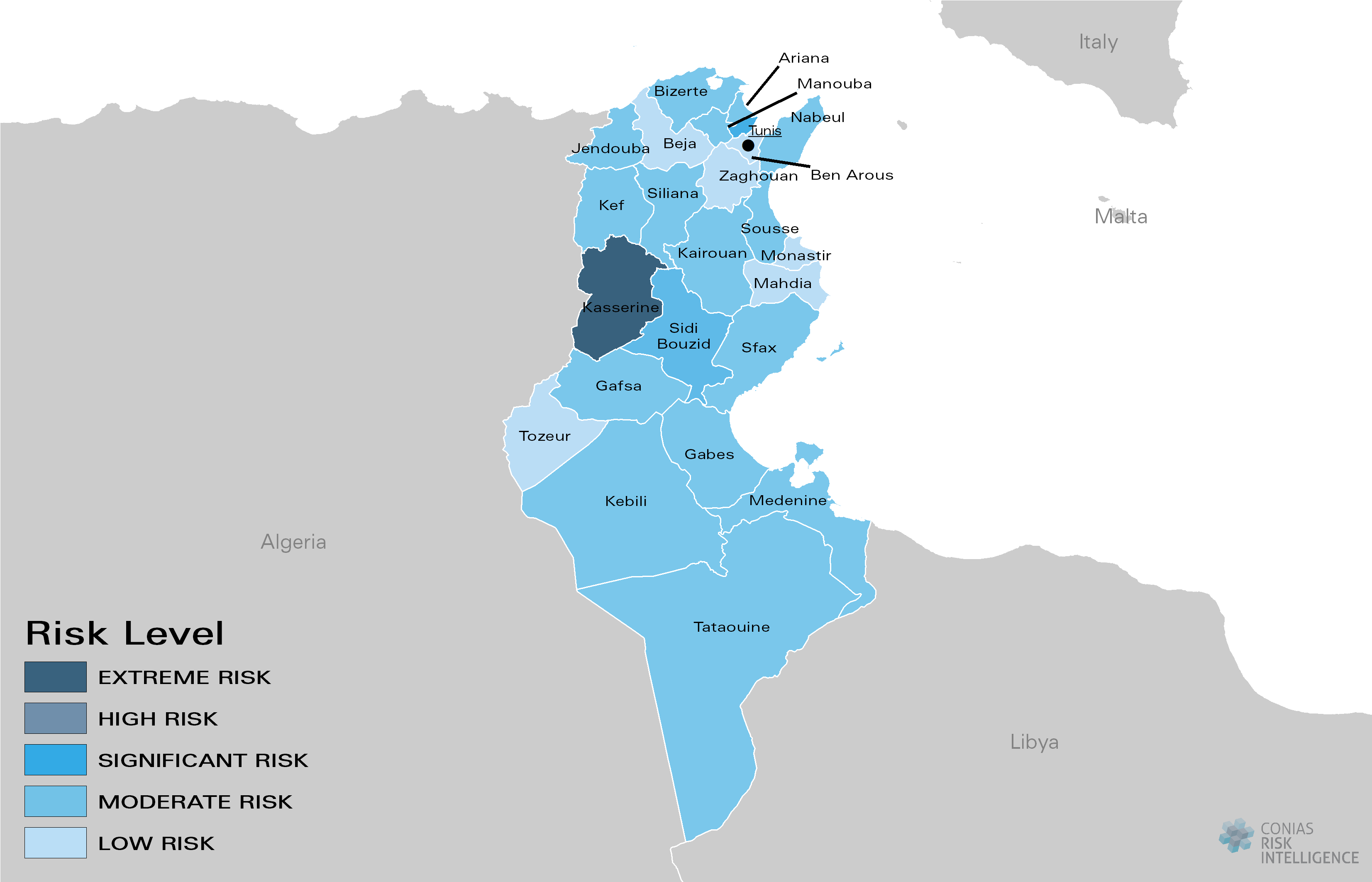CONIAS Political Risk Maps Tunesien