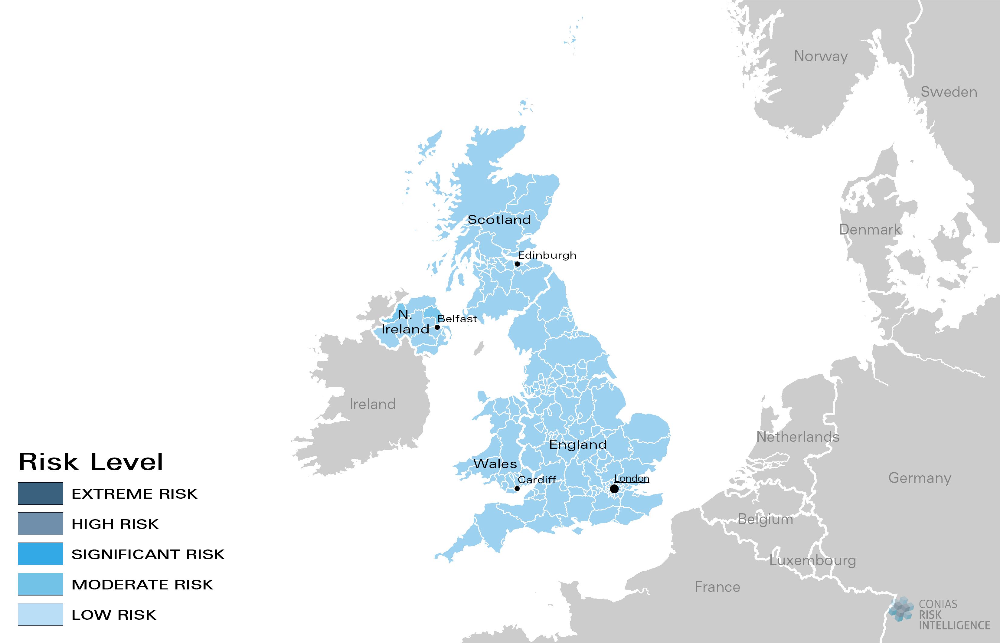 CONIAS Political Risk Maps Vereinigtes Königreich